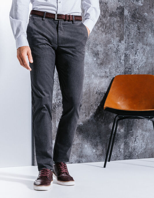 Pantalon chino homme slim gris chiné