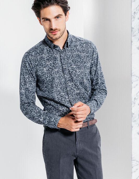 chemise coton à motifs slim fit