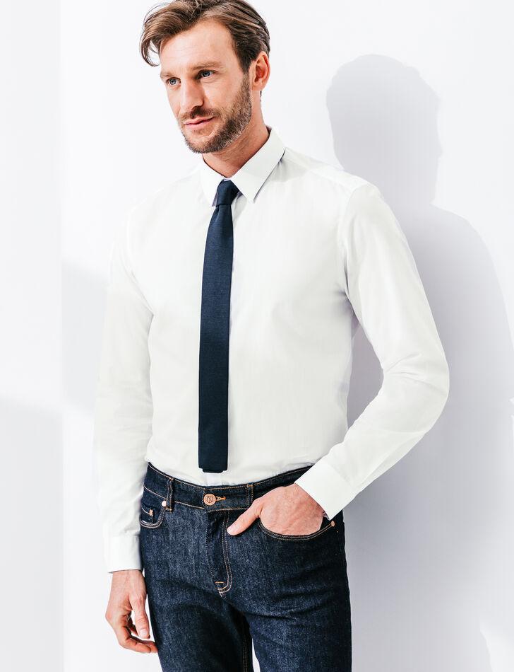 chemise homme blanche avec d tail imprim coupe dr brice. Black Bedroom Furniture Sets. Home Design Ideas