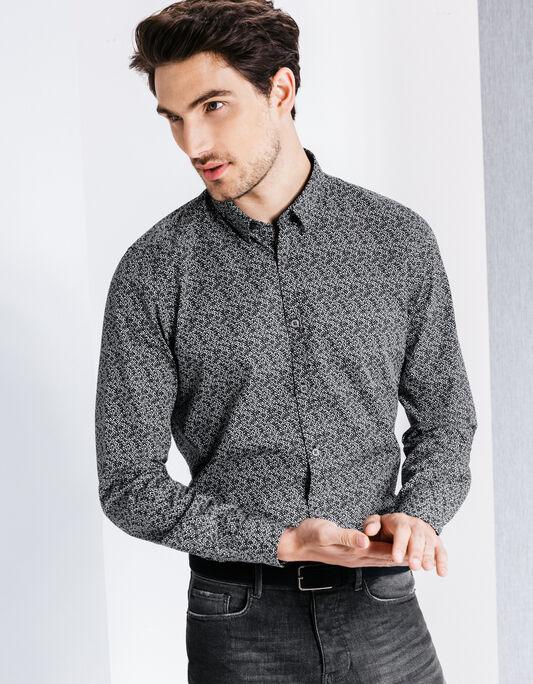 Chemise coton à motif slim fit