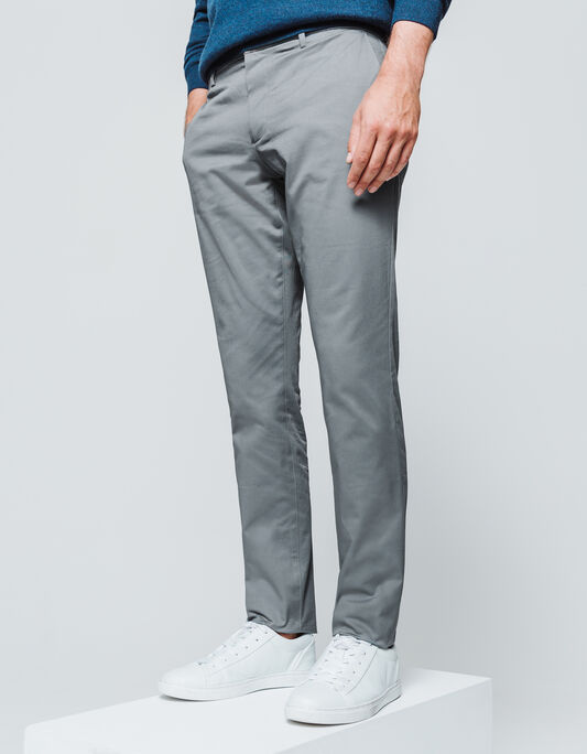 Pantalon chino slim uni coton