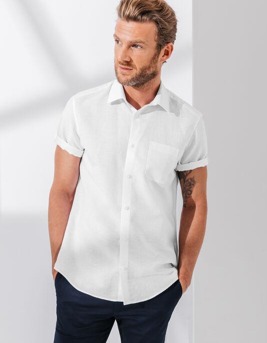 Chemise manches courtes coton lin unie coupe droit