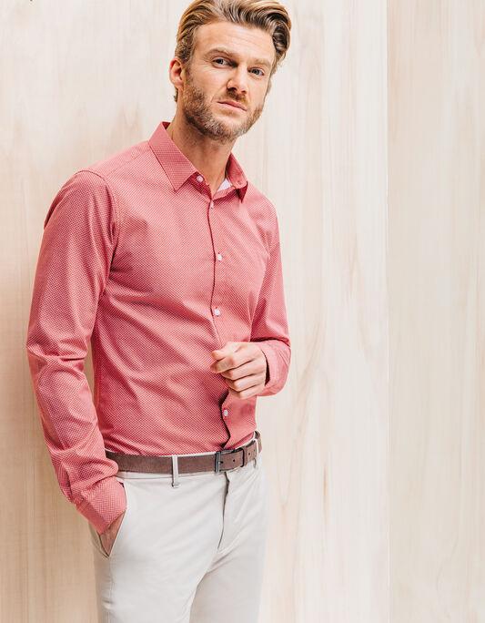 Chemise homme blanche slim petits motifs