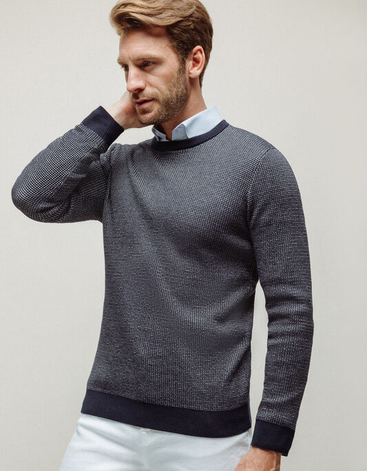 Pull homme col rond maille fantaisie biton