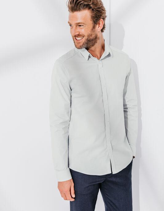 Chemise cintrée homme grise stretch