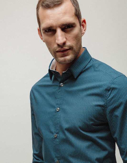 Chemise homme bleue slim imprimée fantaisie