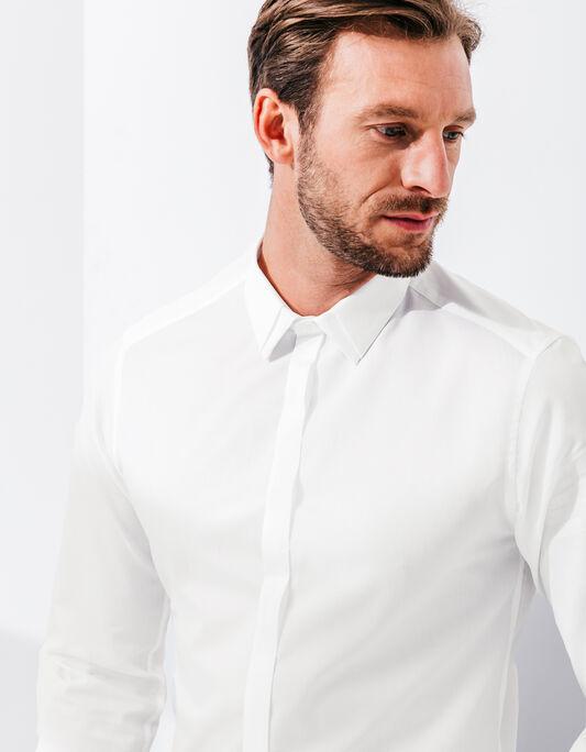 Chemise homme blanche patte de boutonnage cachée