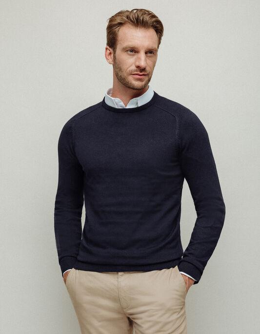 Pull homme col rond uni coton soie