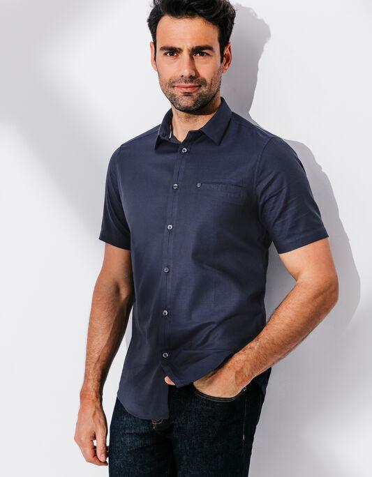 Chemise coton uni manche courte , slim fit