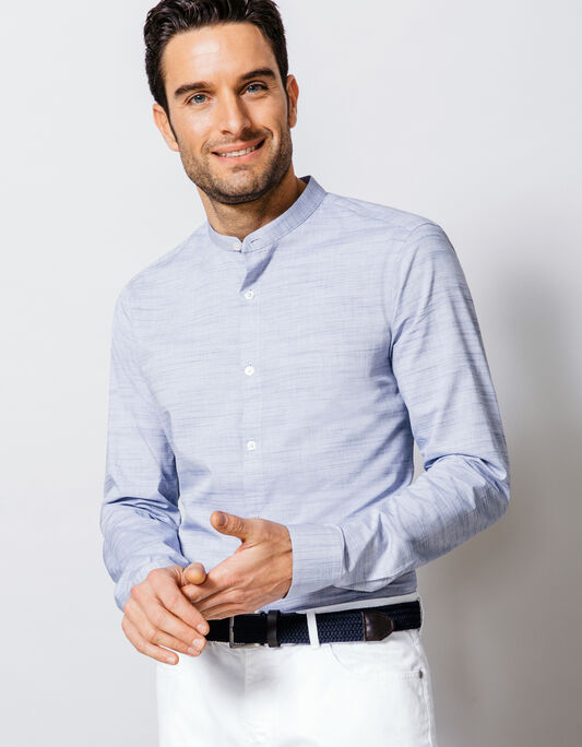 chemise coton relief col officier slim fit