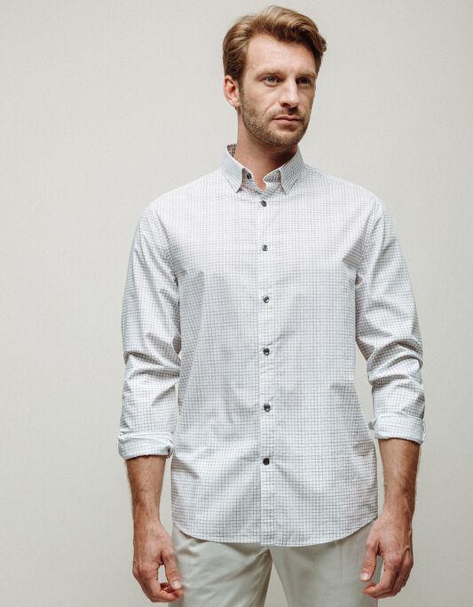 Chemise homme blanche regular à carreaux