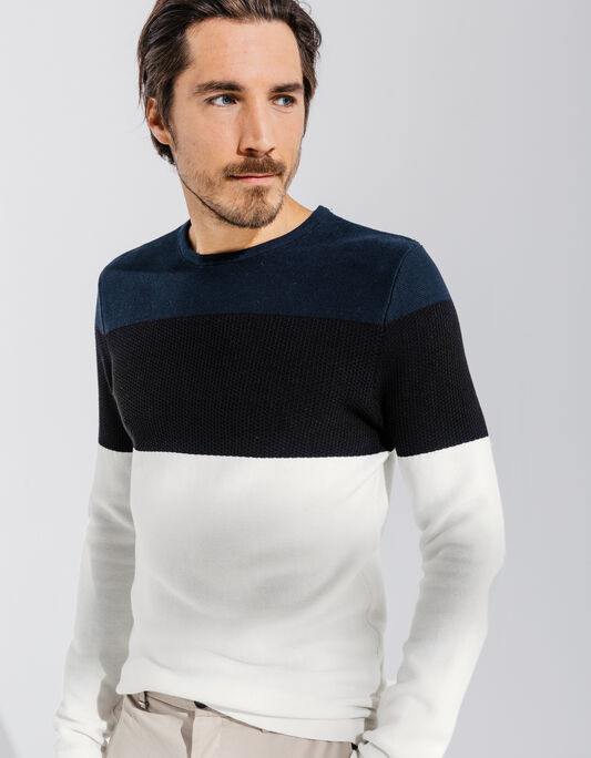 Pull homme col rond tricolore color block