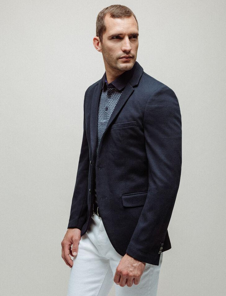 Veste costume homme slim bleu texturée