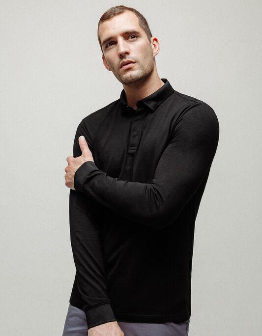 Polo homme manche longue coton jersey