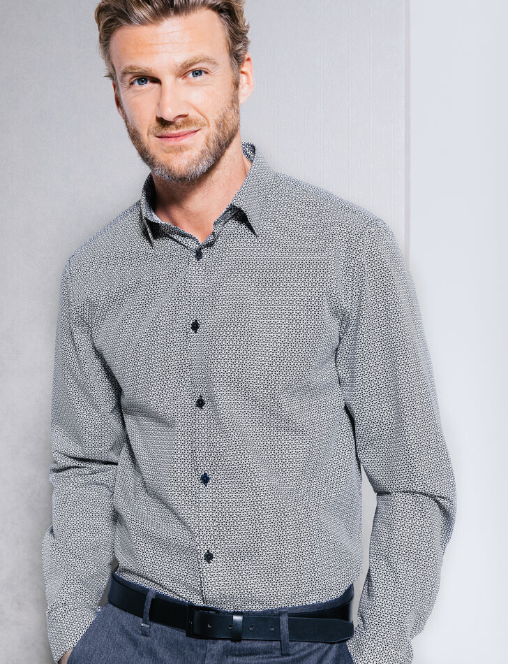 Chemise coton à motifs coupe droite