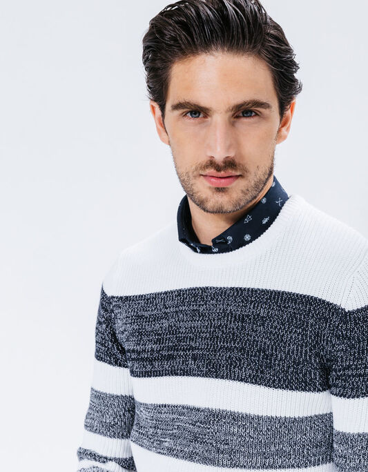 PULL COL ROND RAYURE FANTAISIE