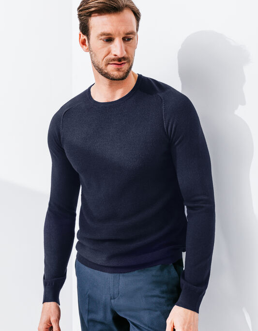 Pull homme col rond mérinos