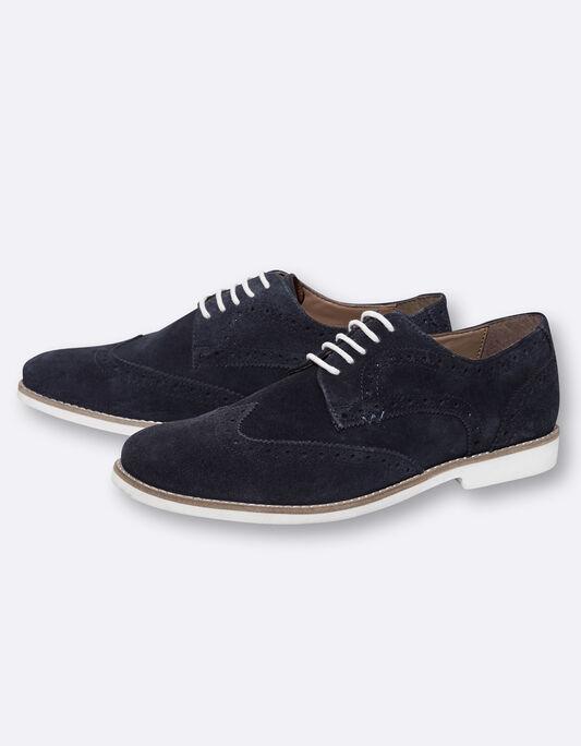 Chaussures homme derby daim marine