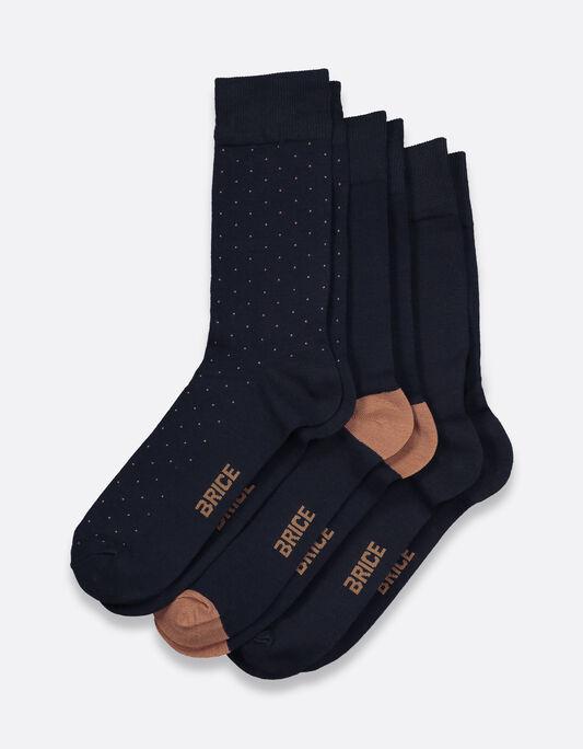 Chaussettes homme pack par 3 en coton mercerisé