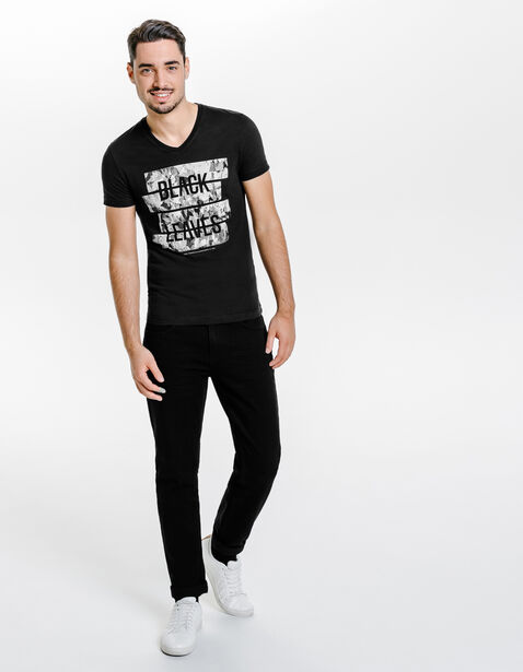Tee shirt col v black leaves