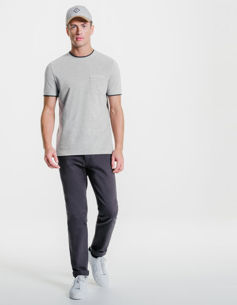Tee-shirt col rond uni poche poitrine