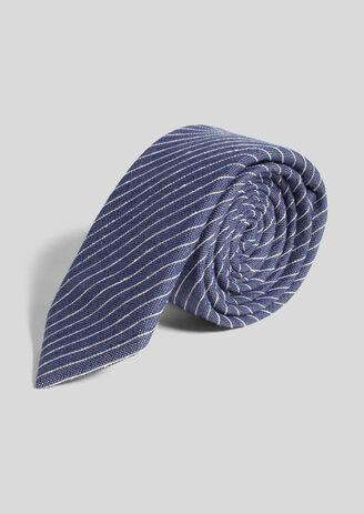 Cravate rayée soie/laine/coton