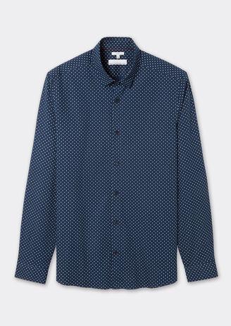 Hemd met stippenprint, slim