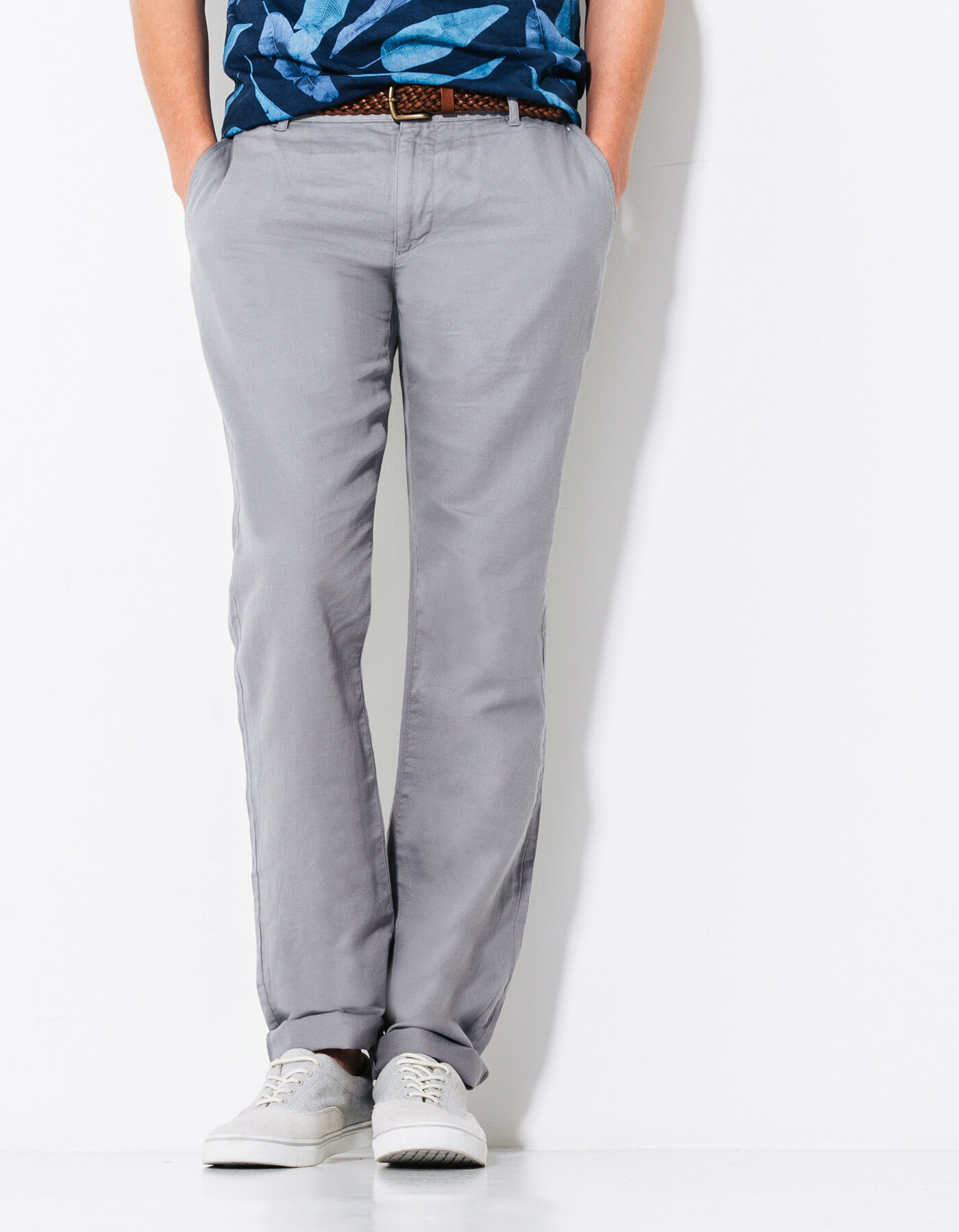 Pantalon lin gris homme fashion designs for Pantalon interieur homme