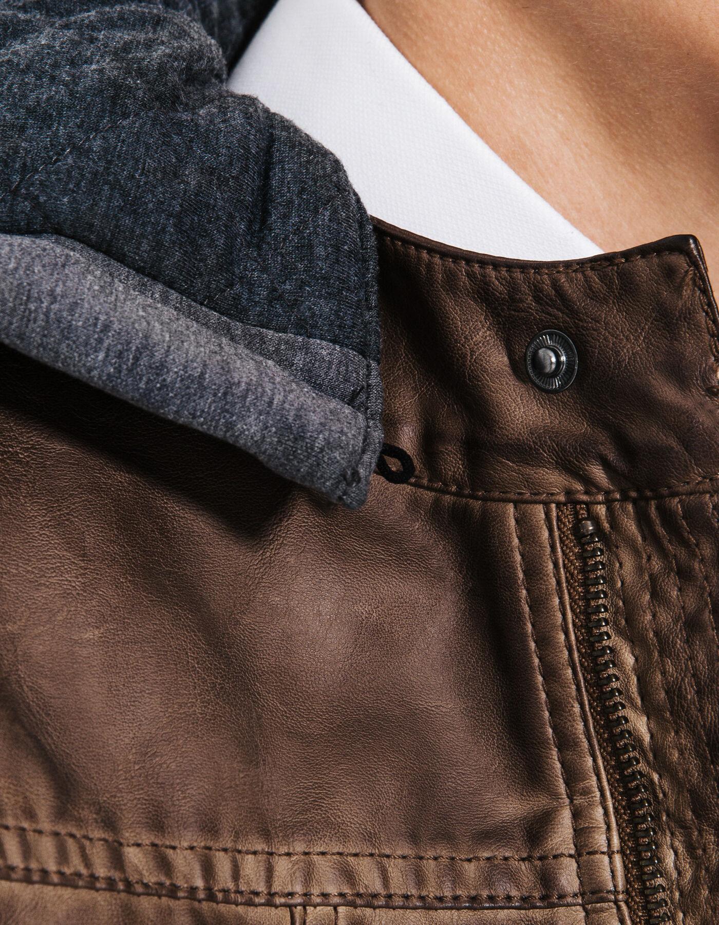 Blouson simili cuir capuche marron homme jules - Simili cuir composition ...
