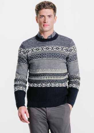Pull col rond rayures en jacquard