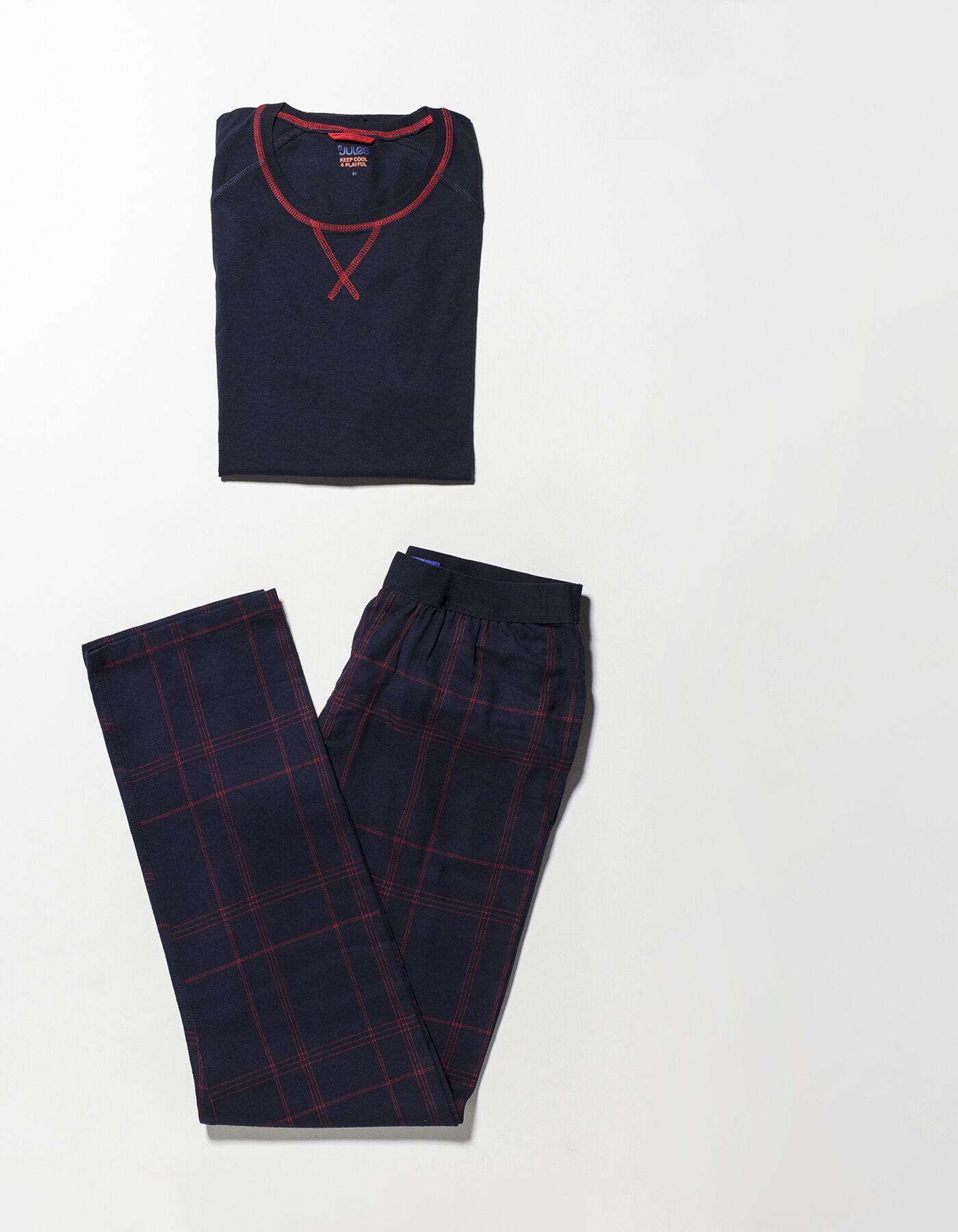 pyjama bas chaine et trame tshirt manches longues bleu vif homme jules. Black Bedroom Furniture Sets. Home Design Ideas