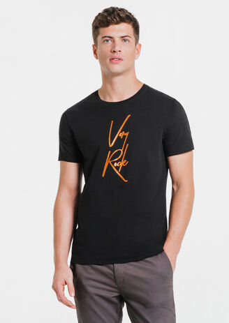 "Tee-shirt noir col rond message ""Very Rock"""