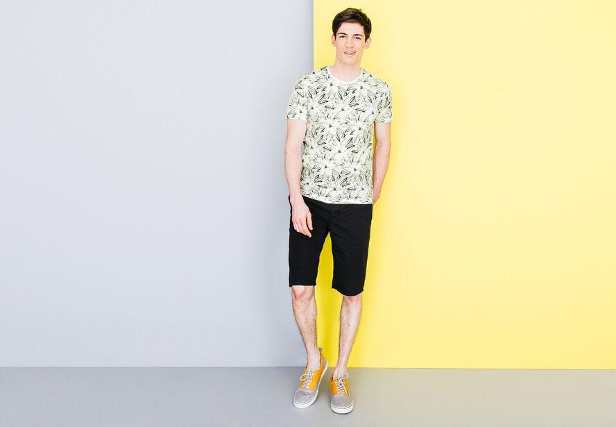 T-shirt col rond imprimé feuillage