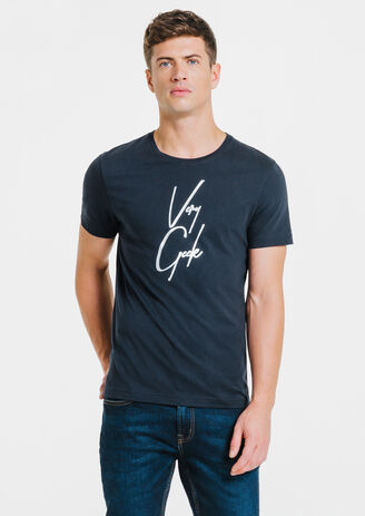 Tee-shirt bleu marine col rond Very Geek
