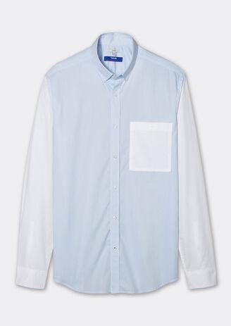 Chemise bleue ajustée rayée
