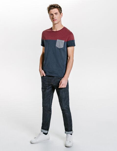 Tee shirt color block poche rayée