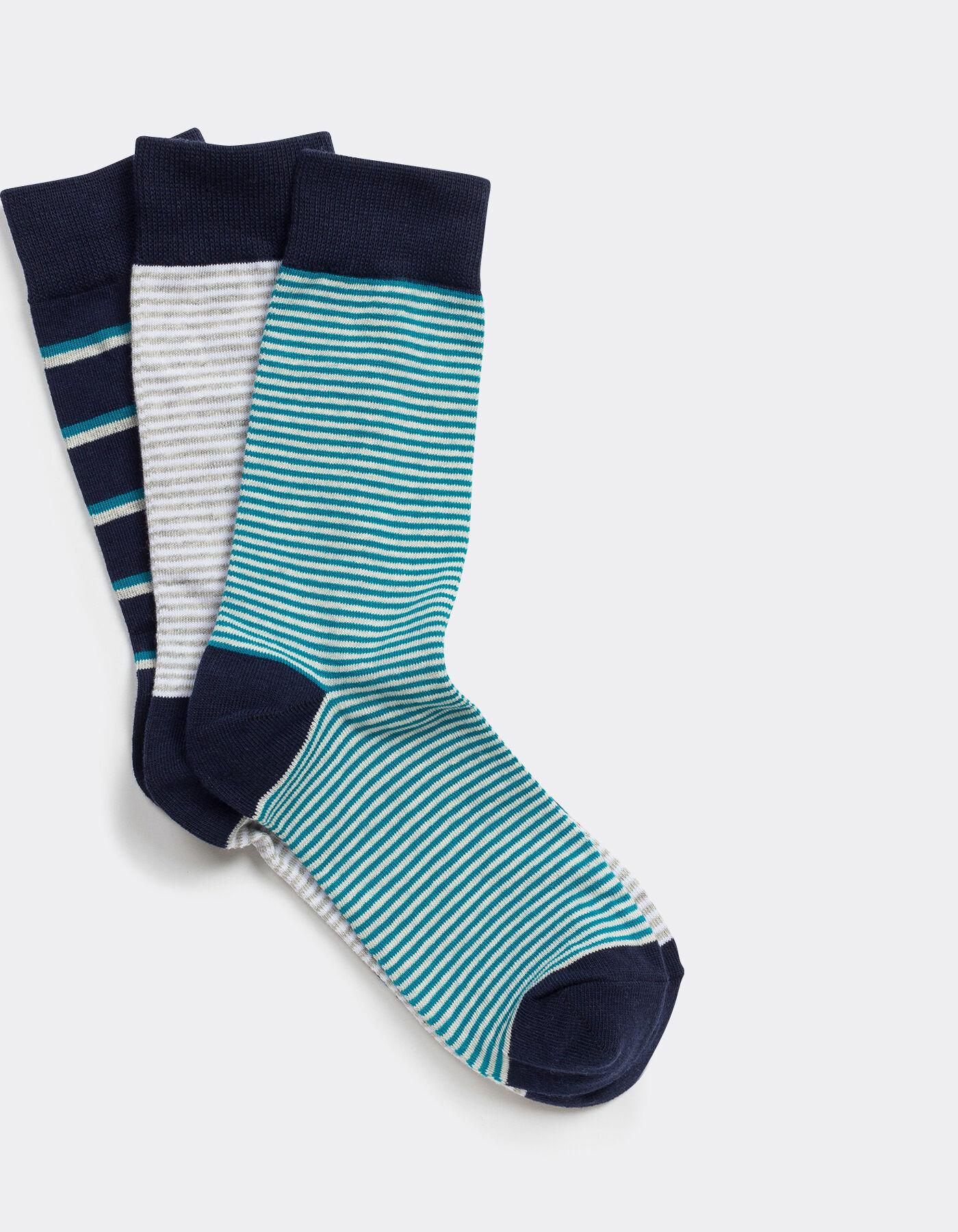 lot de 3 chaussettes hautes fantaisies rayures bleu turquoise homme jules. Black Bedroom Furniture Sets. Home Design Ideas