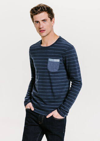 Tee shirt col rond poche chambray