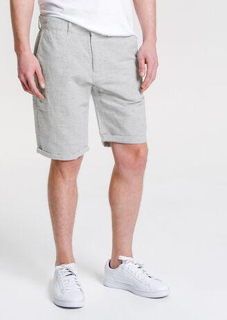 Bermuda rayures coton lin