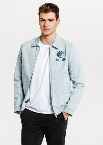 Blouson jean badges amovibles
