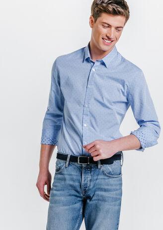 Chemise Brodée Pois Ajustée