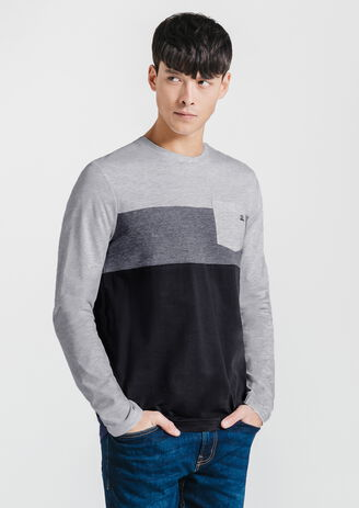 Tee-shirt col rond color block