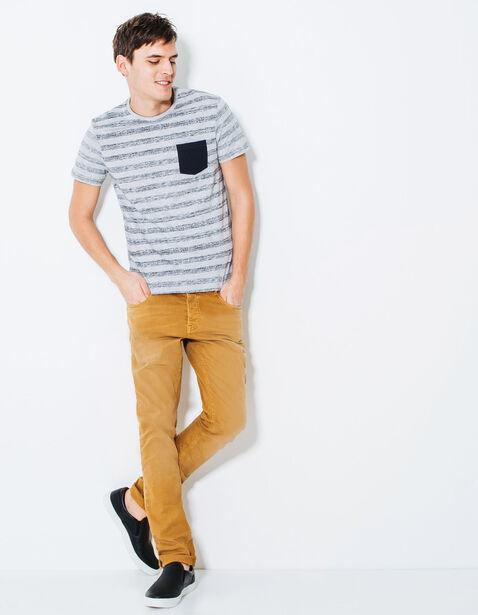 T-shirt col rond rayé et poche poitrine
