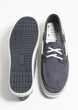 Chaussures Bateau En Toile Bicolore