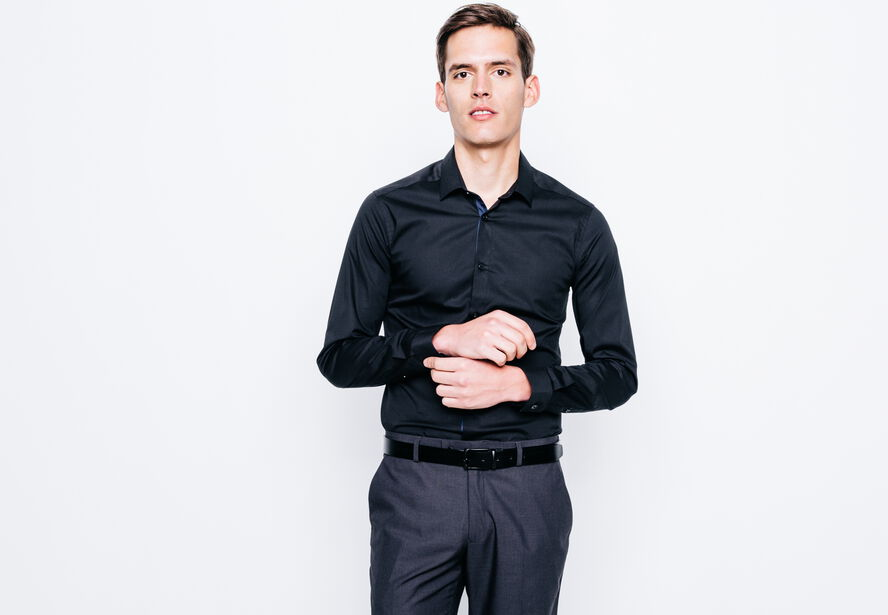 chemise coupe extra slim unie noir homme jules. Black Bedroom Furniture Sets. Home Design Ideas