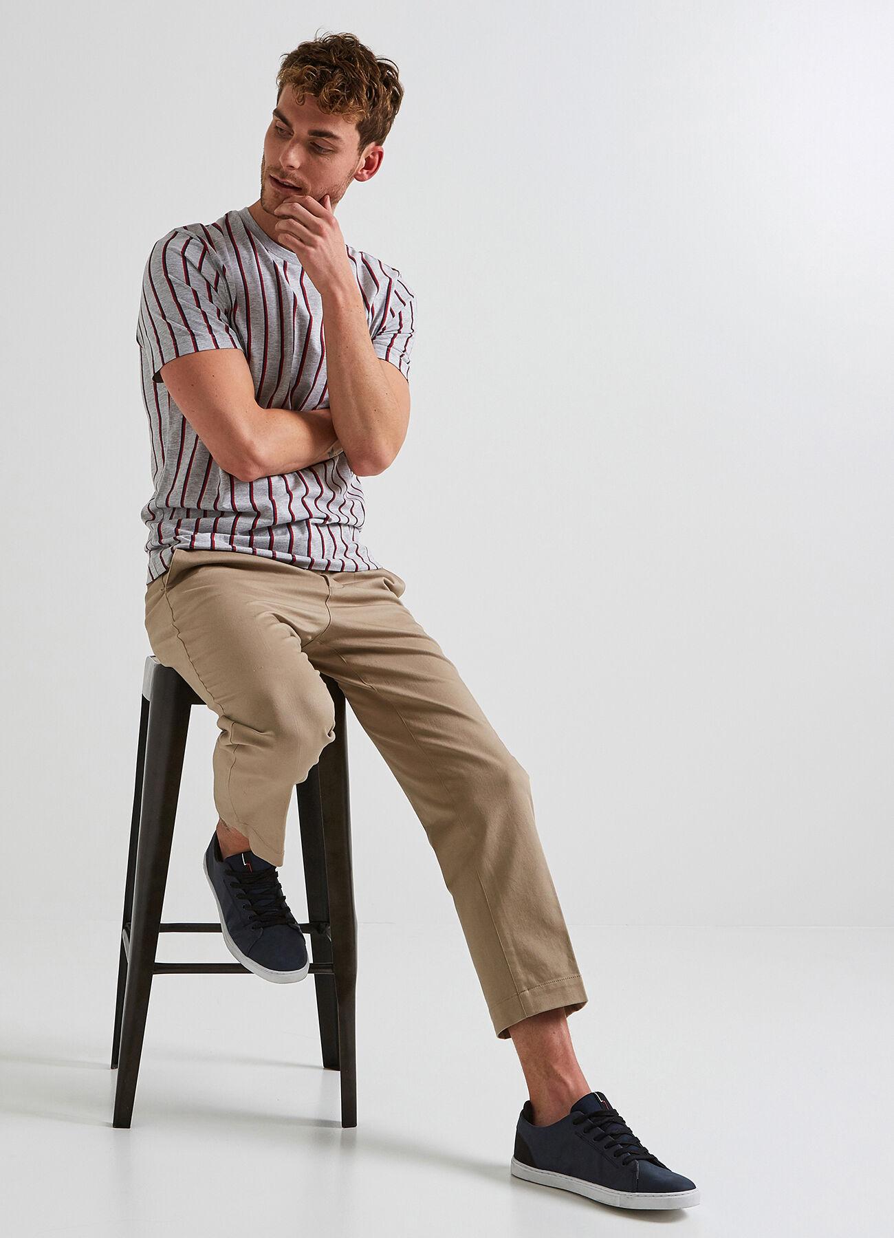 Tee shirt à rayures Gris Chiné Homme - Jules 8b176fa8cd5