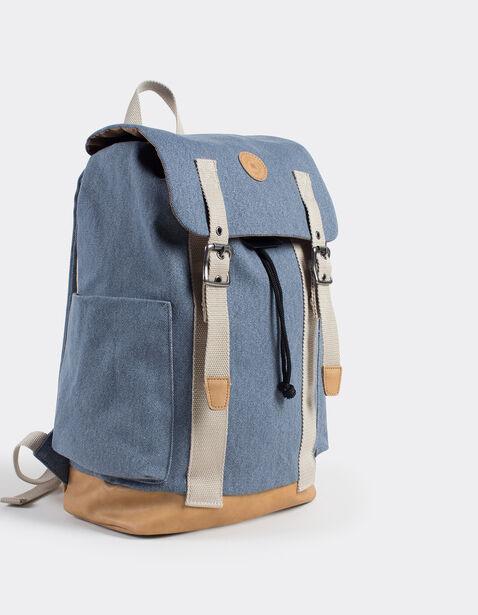 sac dos pour homme canvas fantaisie bleu indigo clair homme jules. Black Bedroom Furniture Sets. Home Design Ideas