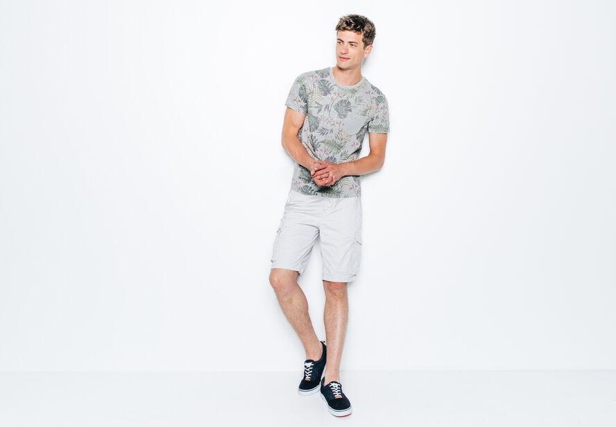 T-shirt col rond imprimé tropical poche unie