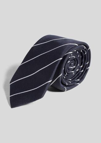 Cravate bleu fine rayure