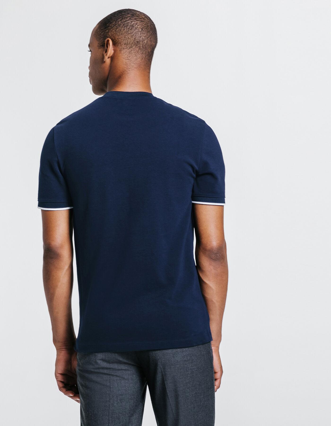 96bba53c55b92d Tee shirt col rond uni poche poitrine Bleu Marine Homme